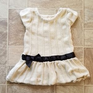 Cream Sweater Dress with Bow